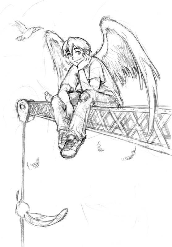 Angel On Crane Sketch By Edwardgan DeviantArt