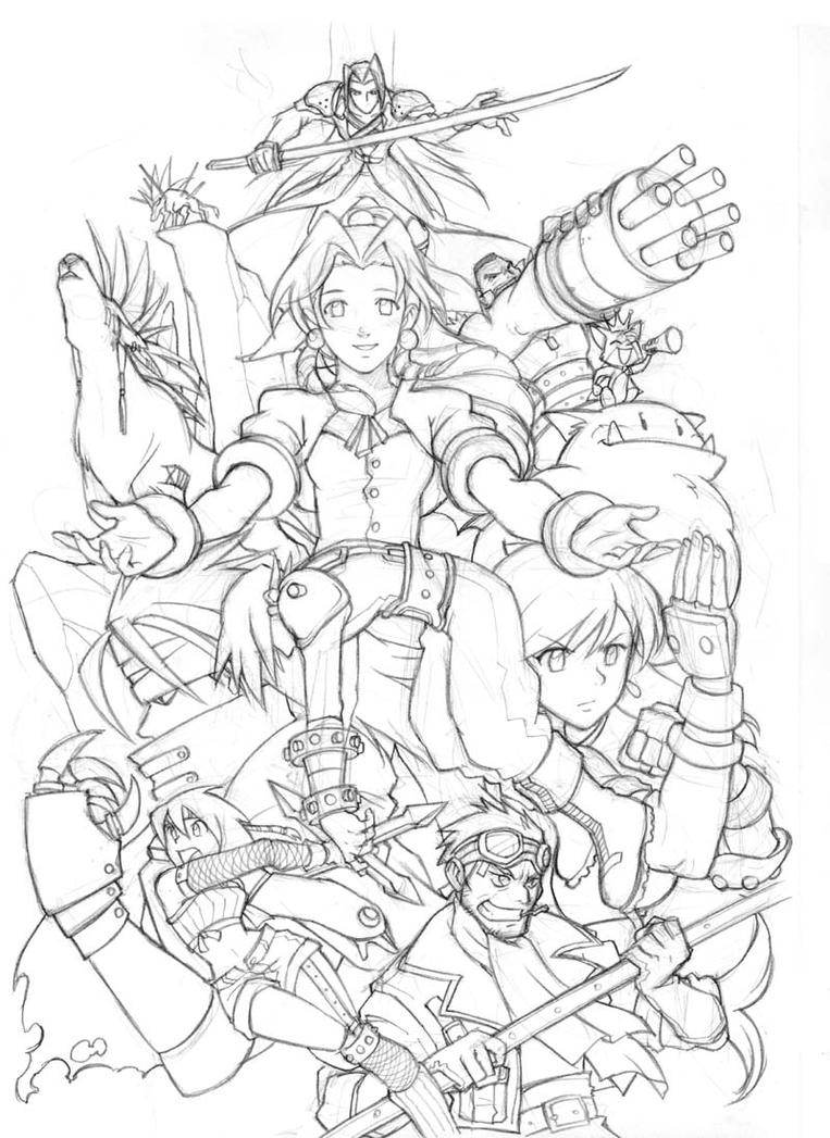 Final Fantasy 7 -sketch- by edwardgan