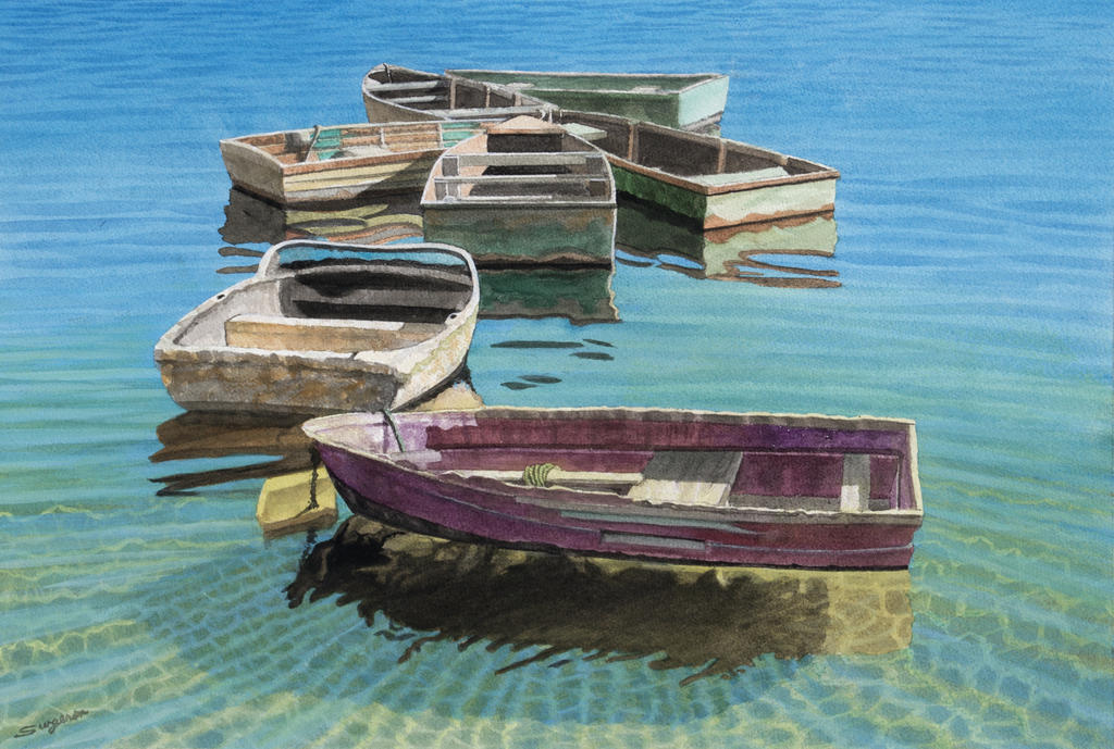 Seven working boats by fredasurgenor