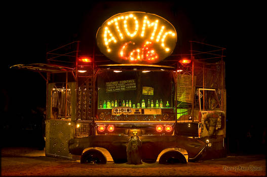 Night view of the Atomic Cafe