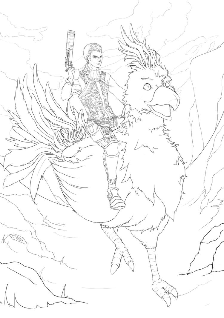 Balthier Lineart WIP by damnreccaishot