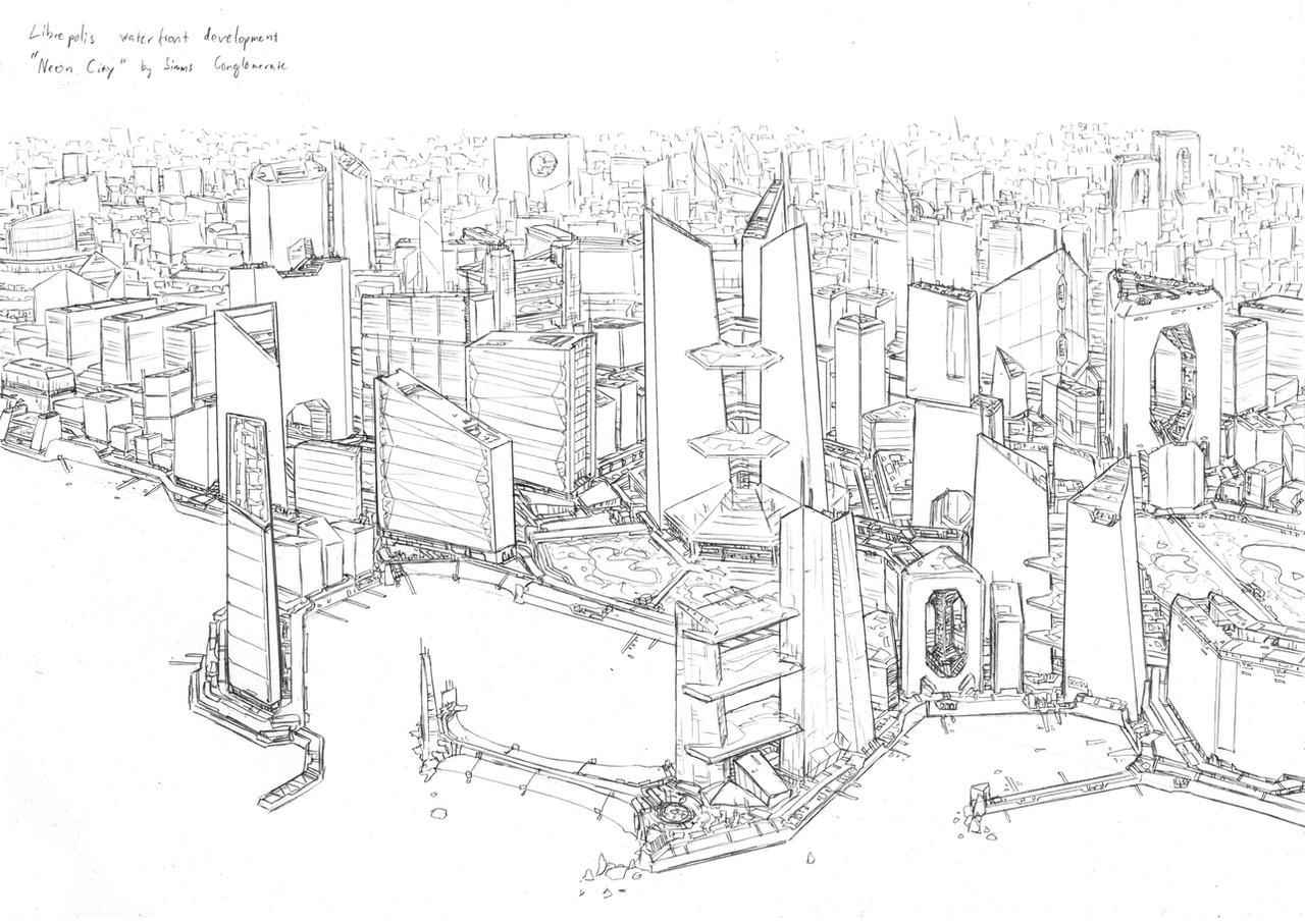 Neon city sketch by PenUser