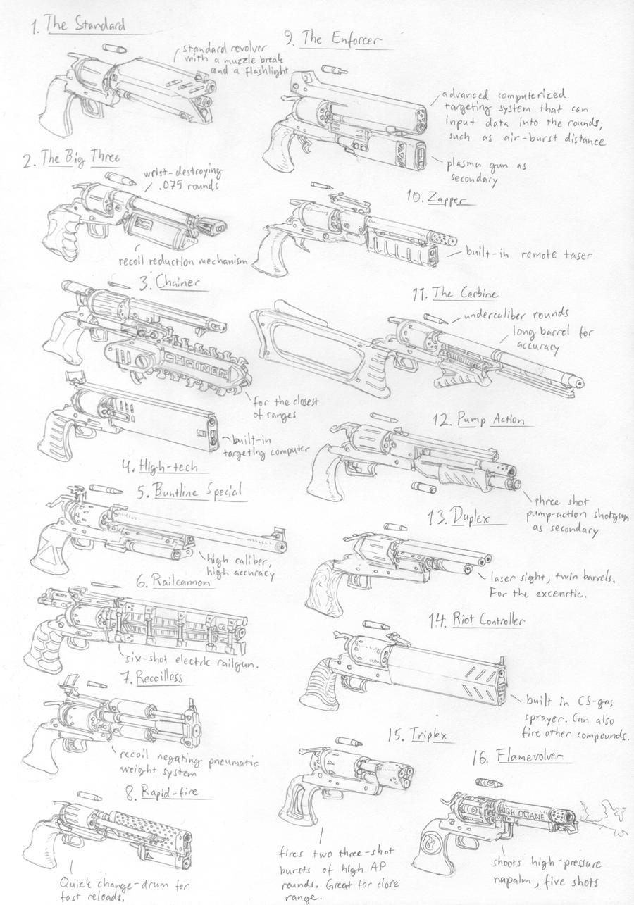 Colt based scifi revolvers by PenUser