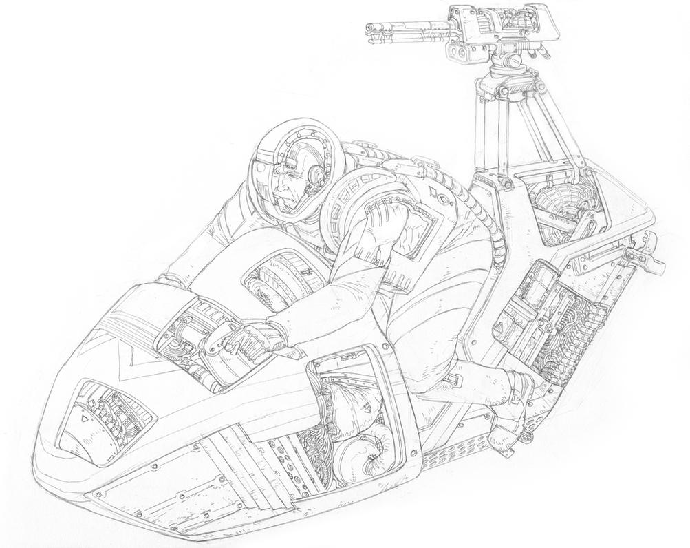 Order Scout Hoverbike cross-section- sketch by PenUser