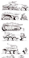 Walkers, tanks, vehicles- sketches