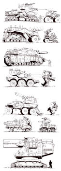 Walkers, tanks, vehicles- sketches by PenUser