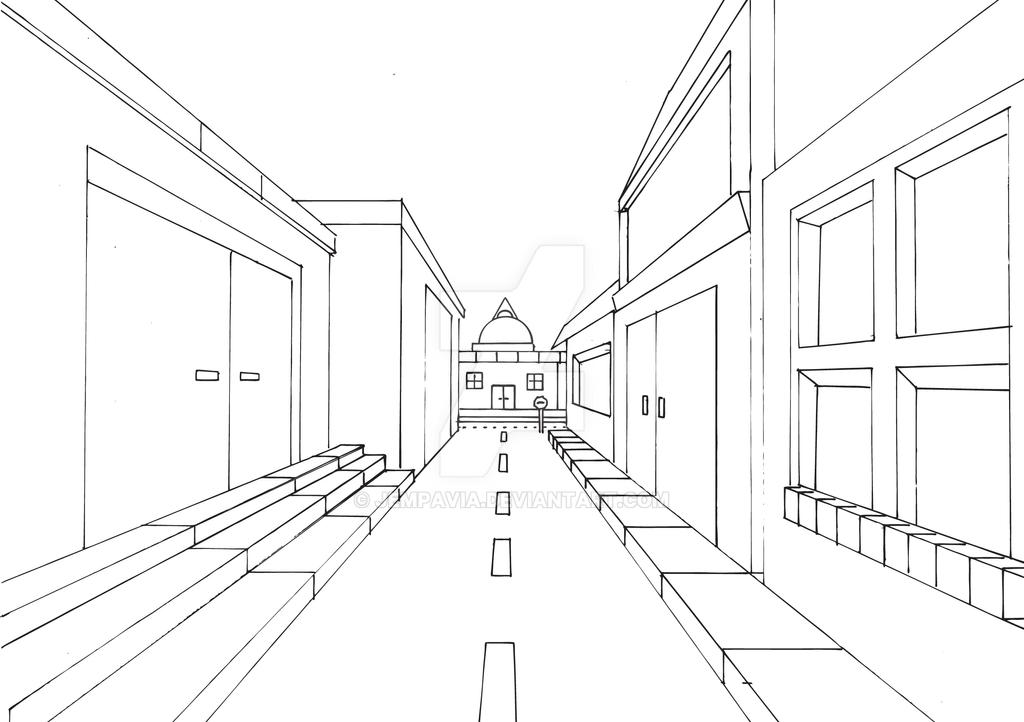 Street View Drawing Street View in One Point