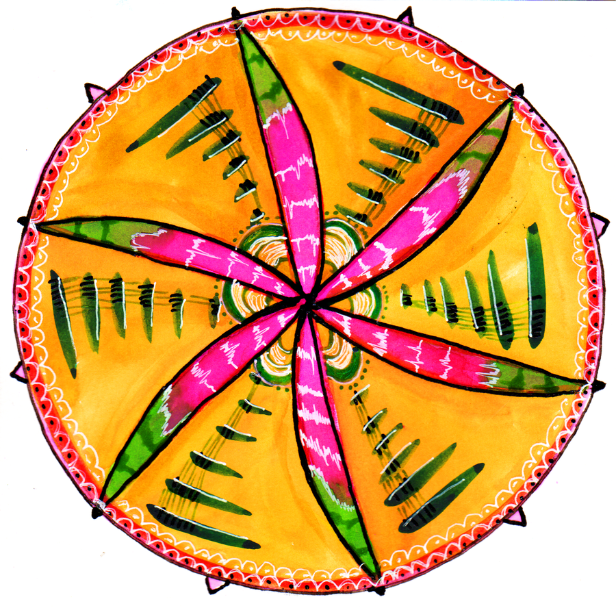 Watercolor and ink compass mandala watermelon by jenthestrawberry on