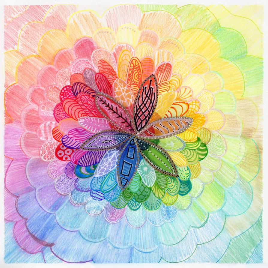 Square Doodle: Flower Burst by jempavia