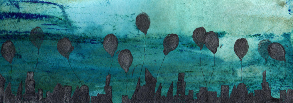 Balloons Over the City in Teal 2 by jenthestrawberry