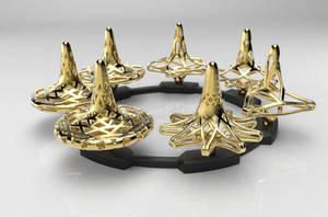 Fractal Spinning Top Set - Polished Gold Steel