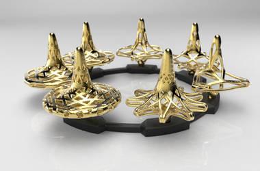 Fractal Spinning Top Set - Polished Gold Steel by DesignbyDalton