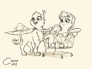 Commission: Griffon, hippogriff in shopping cart