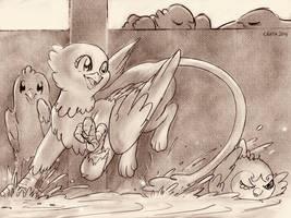 Sketch of griffon in bathtub