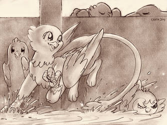 Sketch of griffon in bathtub by Cigitia