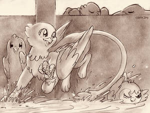 Sketch of griffon in bathtub