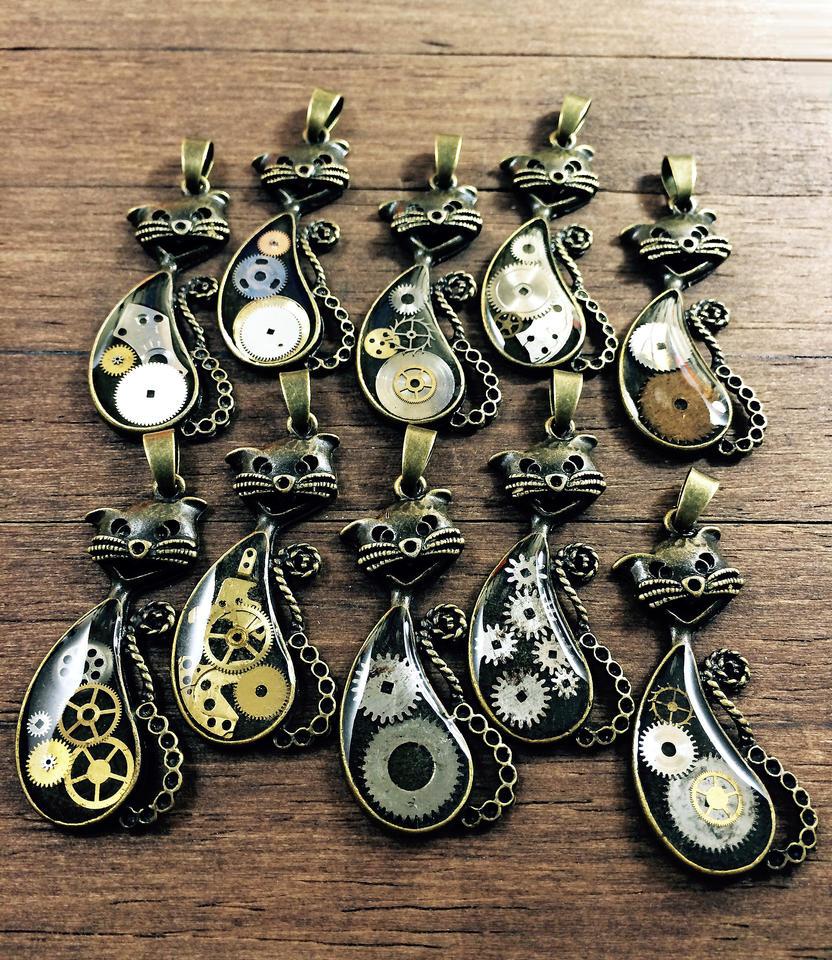 steampunk cat pendats by nestre-jewellery
