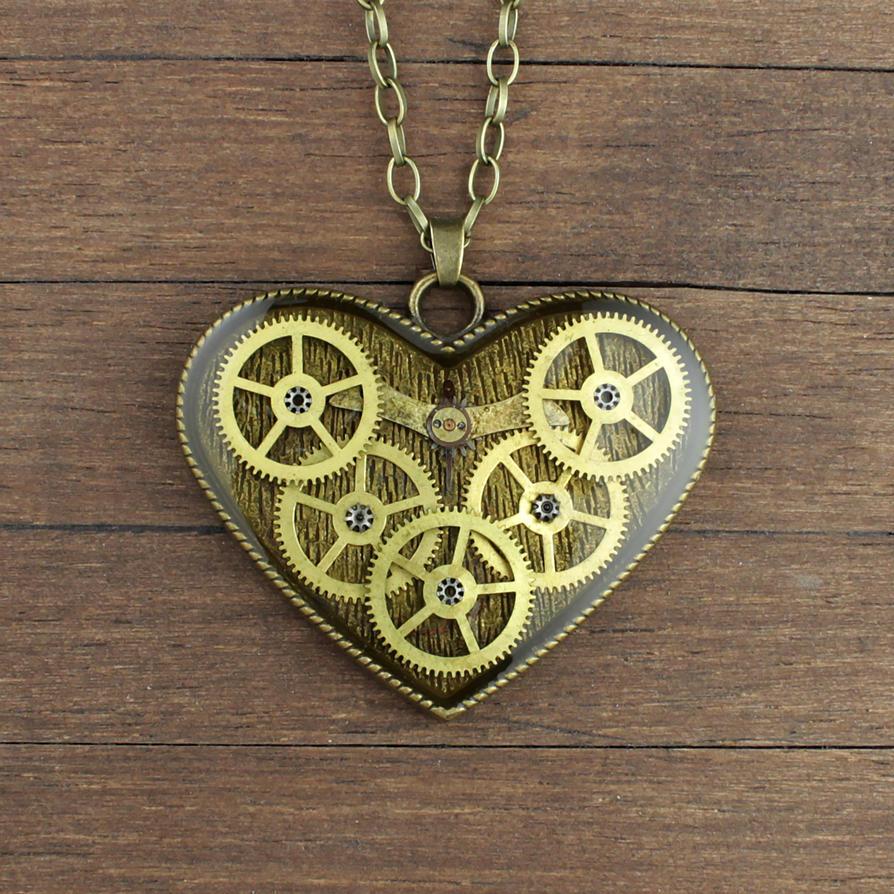Gears Heart pendant by nestre-jewellery