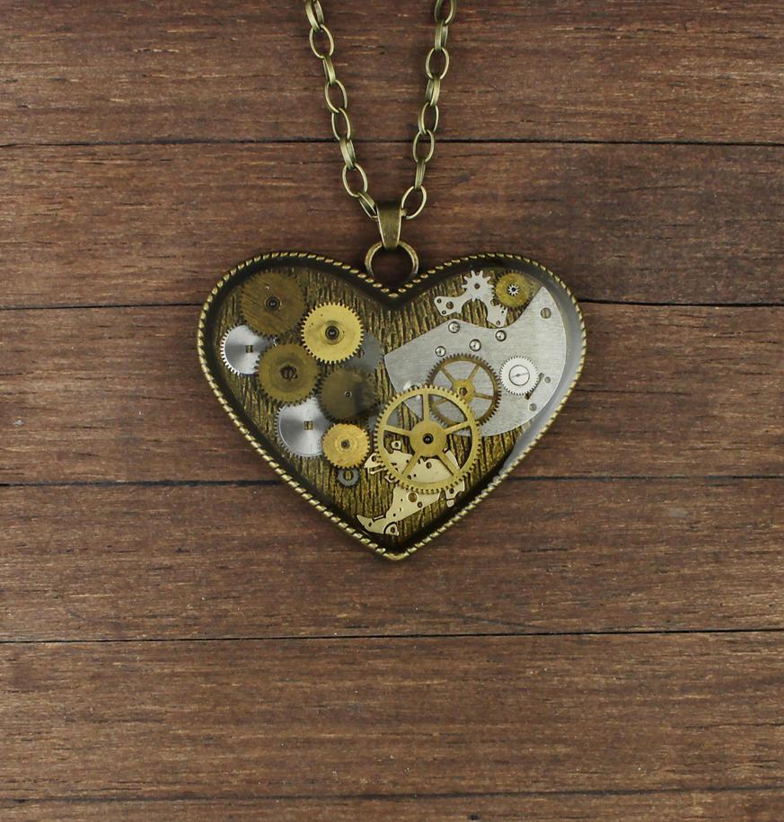 Steampunk heart pendant by nestre-jewellery
