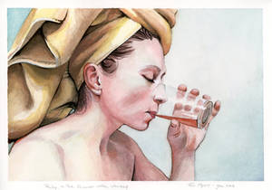 Portrait of Ruby, drinking whiskey in the shower