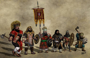 Ethiopian Dwarf Warriors - joined colored by thefeatheredsnake