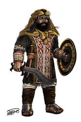 Ethiopian fantasy dwarf warrior - The Lion warrior by thefeatheredsnake