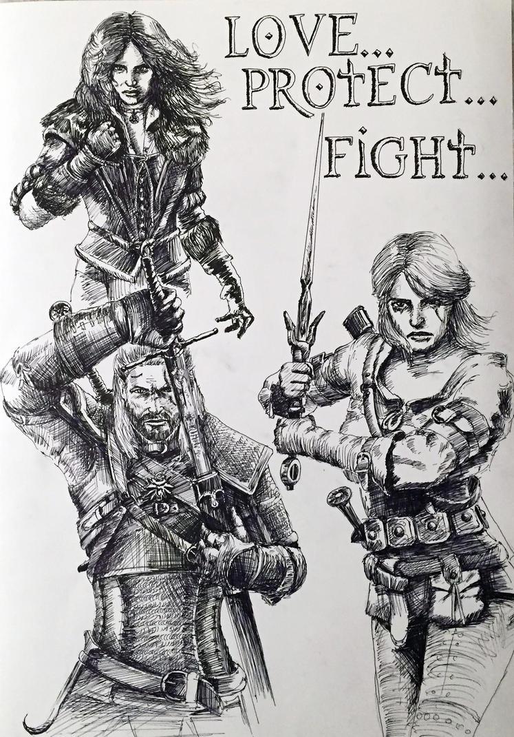 Yen, Geralt, Ciri - Family by Fluexpr34