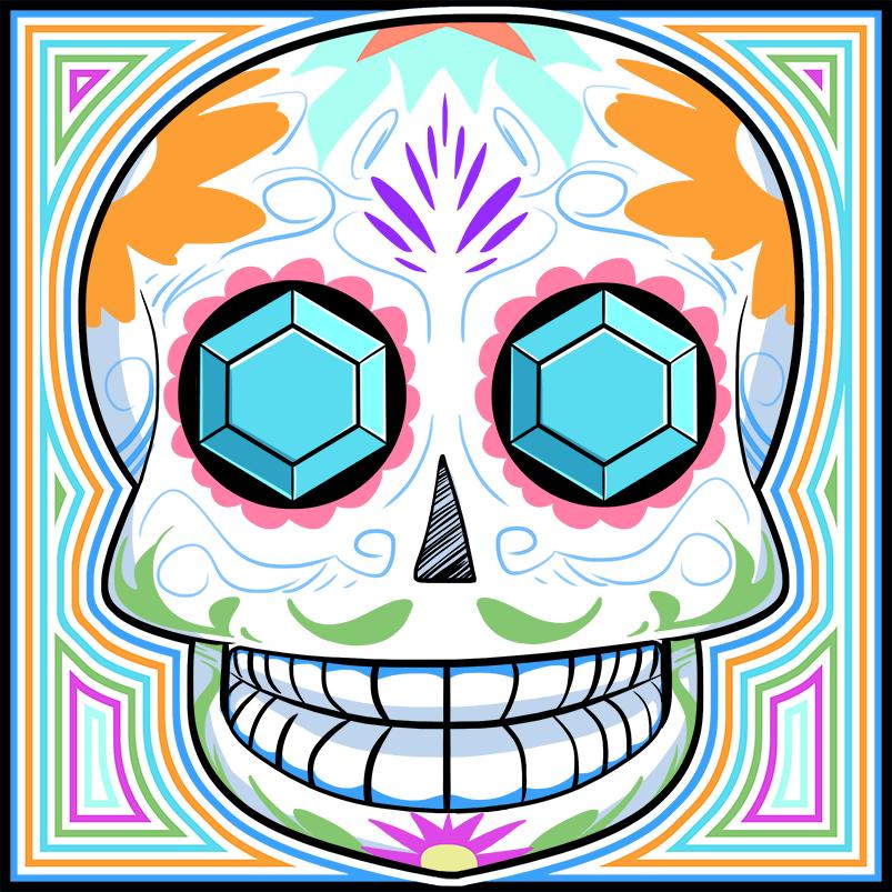 Inktober2016, Bonus Day of the Dead, Sugar Skull. by Russell-LeCroy