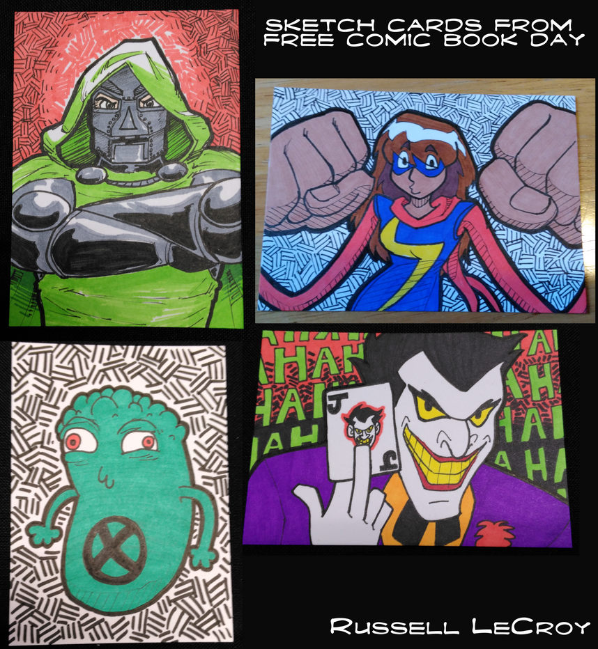 Free Comic Book Day 2018 sketch cards by Russell-LeCroy