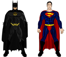 Tim Burton Batman and Superman from Superman Lives by Alexbadass