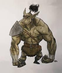 Martial ape man warrior thing by maryarts
