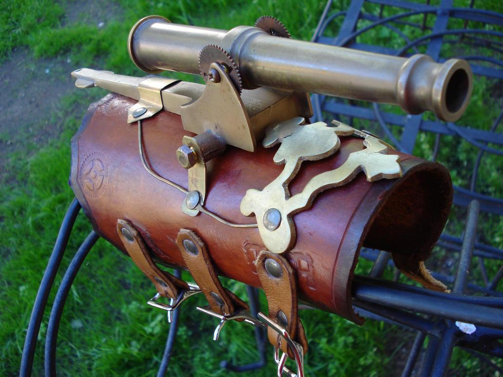 Steampunk Cannon Bracer by tungstenwolf