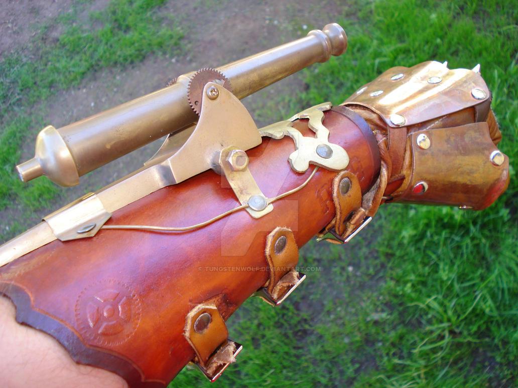 Steampunk Cannon Gauntlet by tungstenwolf