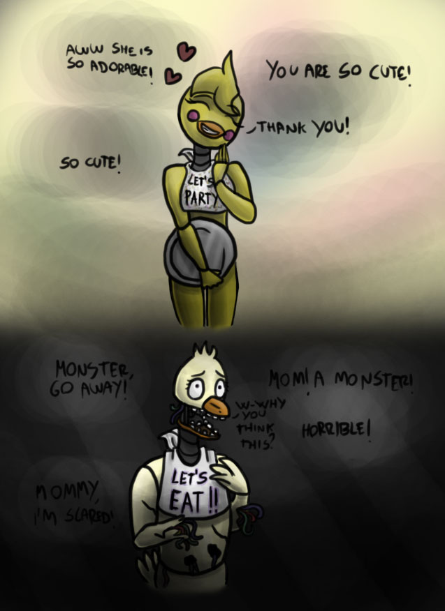 Chica and Toy Chica - Collab by YourDigitalAquarium