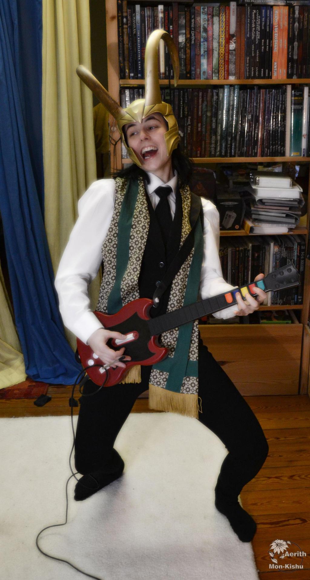 Loki Cosplay + helmet - Playing Guitar Hero 1 by Mon-Kishu