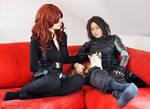 Winter Soldier / Black Widow Cosplay + cat