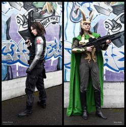 Loki + Winter Soldier Cosplay - Road to Civil War by Mon-Kishu