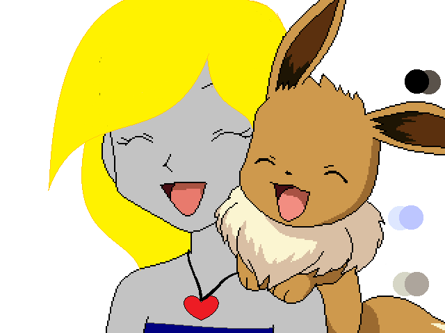 sunset and her eevee  laughing by XxRhian-MidnightxX