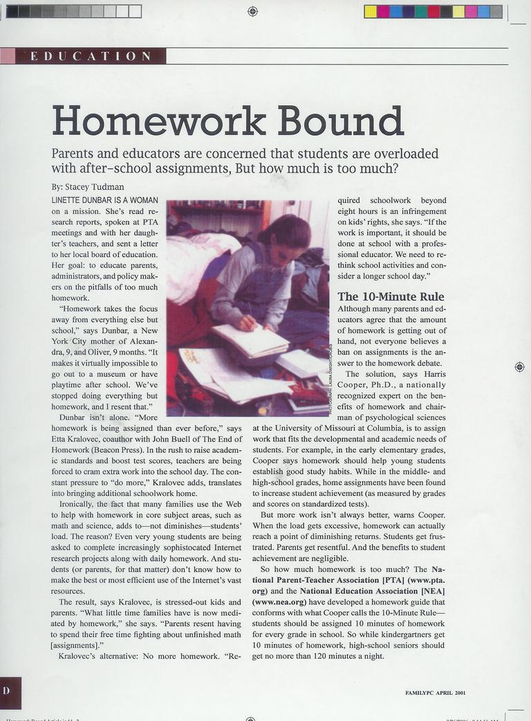 no more homework article