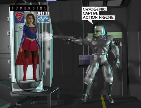 Supergirl captured by Mr Freeze