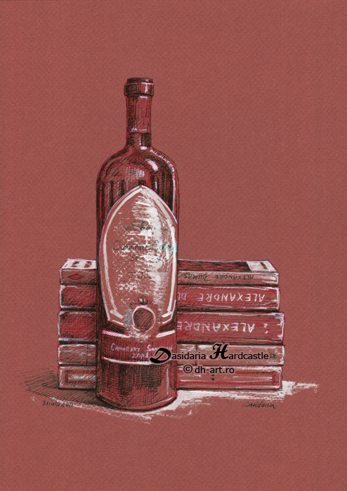 Books and wine by dh6art