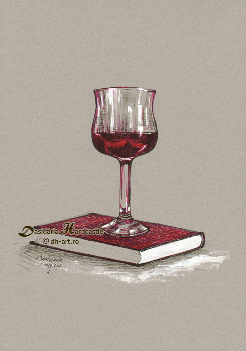 Books and wine - later by dasidaria-art