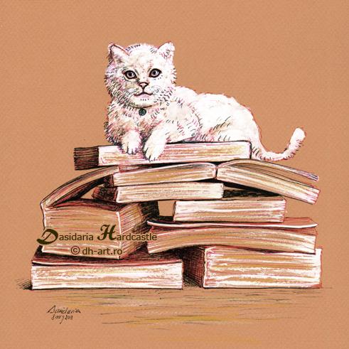 Studious cat by dasidaria-art