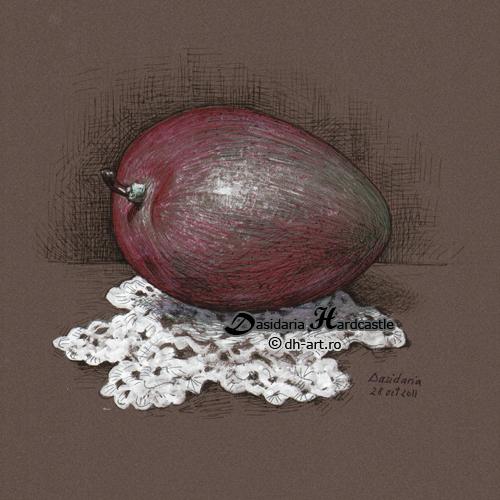 Mango on a doily by dasidaria-art