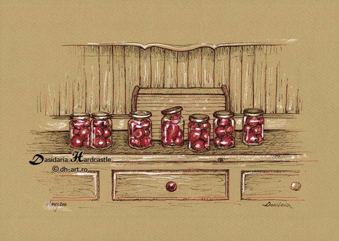 Small tomatoes in jars by dasidaria-art