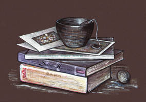 Books, postcards and a cup of tea by dasidaria-art
