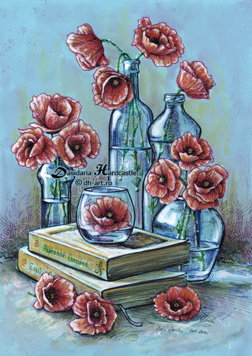 Bottles and poppies by dasidaria-art