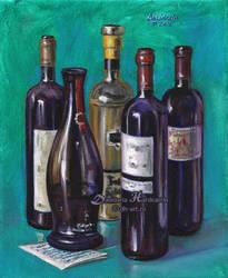Bottles of wine by dasidaria-art