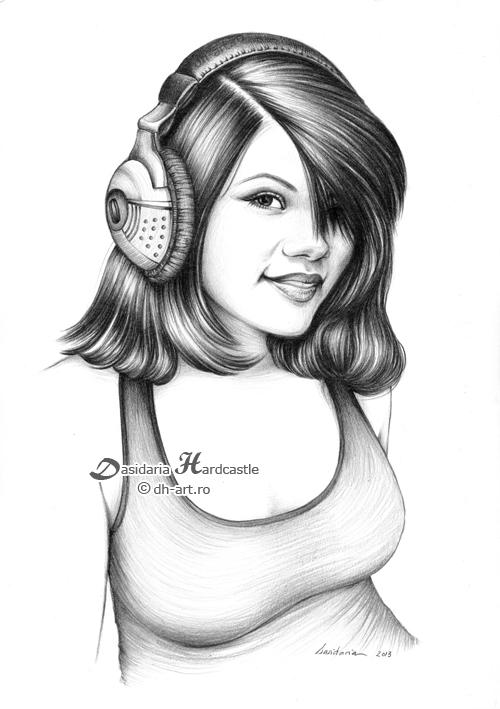 Girl with headphones by dasidaria-art