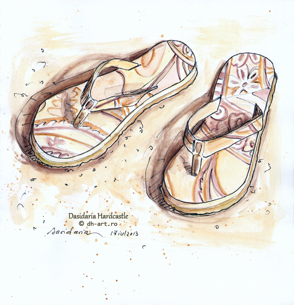 Sketchbook - Beach slippers by dh6art